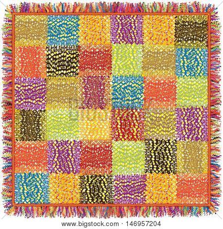 Colorful grunge striped patchwork motley carpet with fringe