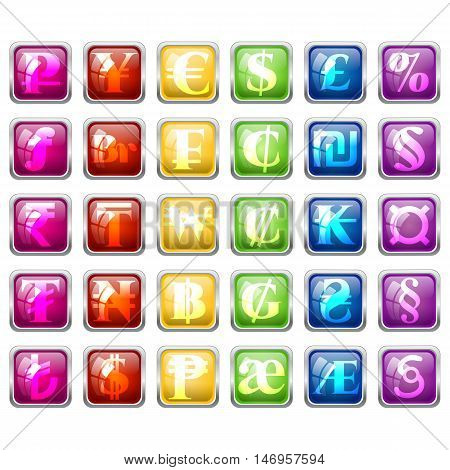 Set of currency symbols of world inside colorful square tile blocks with glass effect isolated on white. Vector illustration