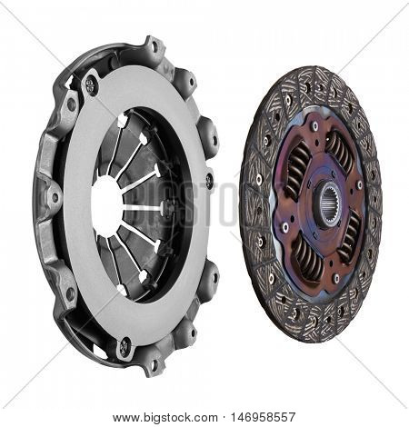 Disc and clutch basket, isolated on white background
