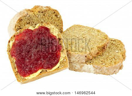 Buttered crusty bread with strawberry jam isolated on a white background