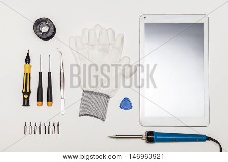 Tablet Pc And Repairing Tools, Flat Lay, Top View