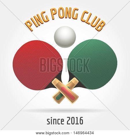 Table tennis retro logo or ping pong sport club vintage label vector