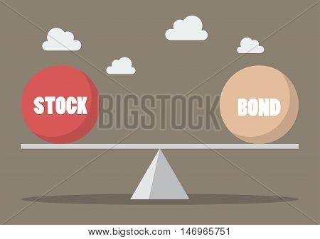 Balancing between stock and bond. Business concept