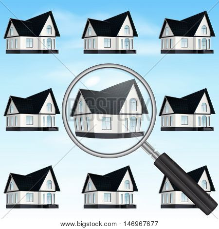 Magnifying glass and a home. Concept of searching and comparing properties