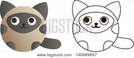 drawing of a cartoon round Siamese kitten - in color and line art