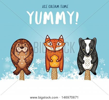 Set of ice cream on a stick with cartoon animals on blue background. Cute animal popsicles collection with seal, fox and badger in the snow. Yummy