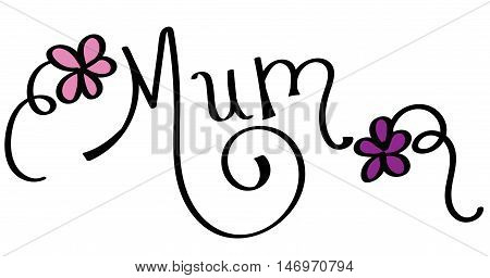 Handwritten Mum Lettering with Pink and Purple Flowers