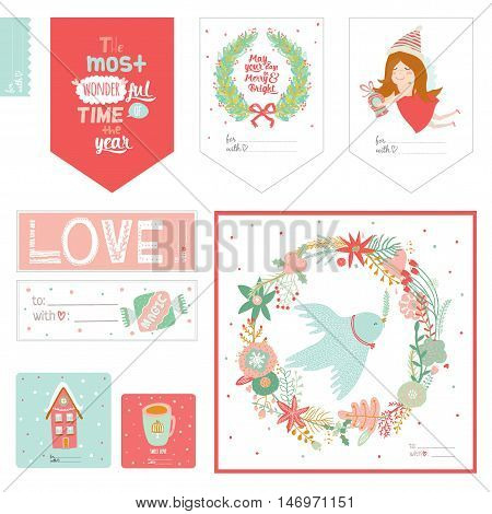 Cute Vector Cards, Notes, Stickers, Labels, Tags with Winter Christmas Illustrations and Wishes. Template for New 2016 Year Greeting Scrapbooking, Congratulations, Invitations. Vertical Card