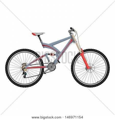 Downhill extreme sport bicycle on white background. Two suspension bike with hydraulic disc brakes.