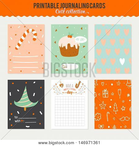 Cute Vector Journaling 3x4 Vertical Cards, Notes, Stickers, Labels, Tags with Winter Christmas Illustrations and Wishes. Template for New 2016 Year Greeting Scrapbooking, Congratulations, Invitations