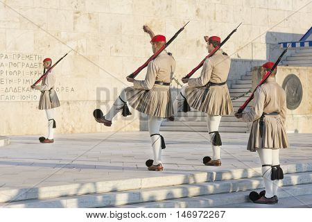 ATHENS, GREECE, SEPTEMBER 7,2016: Evzones, an elite ceremonial unit that guards the Greek Tomb of the Unknown Soldier, changing guard posts in front of the Presidential Mansion.