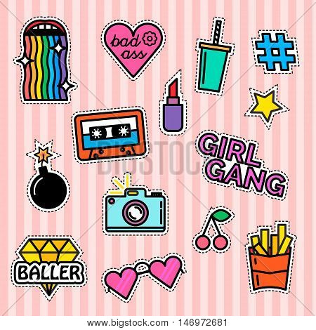 Modern slogans. Rainbow effect. Girl gang. Milkshake and fries
