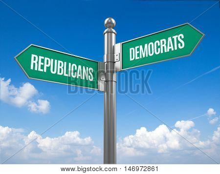 Democrat and republican signpost - 3d rendering