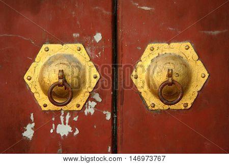 Chinese door handle decoration, China, Tibet, Lhasa