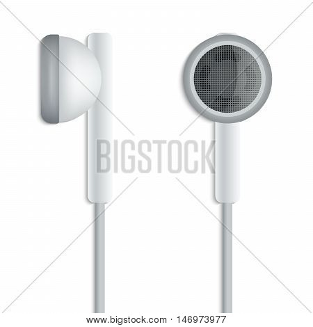 White plug stereo headphones on white background