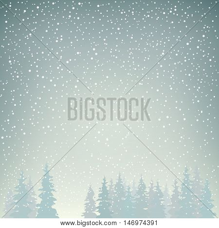 Snowfall in the Forest, Snow Falls on the Spruces, Fir Trees in Winter in Snowfall, Winter Background, Christmas Winter Landscape in Gray Shades, Vector Illustration