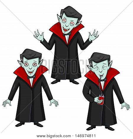 Vector Set of Halloween Characters - Vampire. Smilling, Attacking and Drinking Blood.