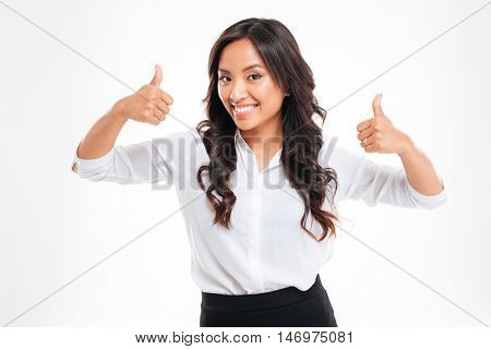 Happy asian businesswoman with thumbs up isolated on white background