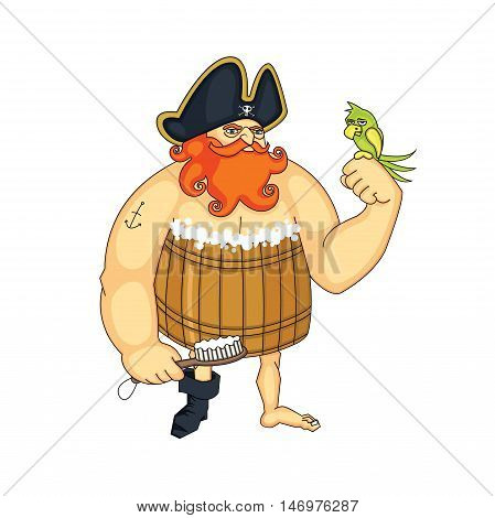 Pirate with a red beard clean flat cartoon illustration. Isolated on a white background.