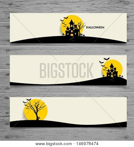 Happy Halloween design background, Cute note paper with Halloween background. Vector illustration.
