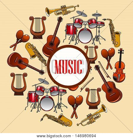 Music poster with wind and strings musical instruments. Musical placard with detailed icons of saxophone, piano, harp, drums, maracas, guitar, violin, trumpet