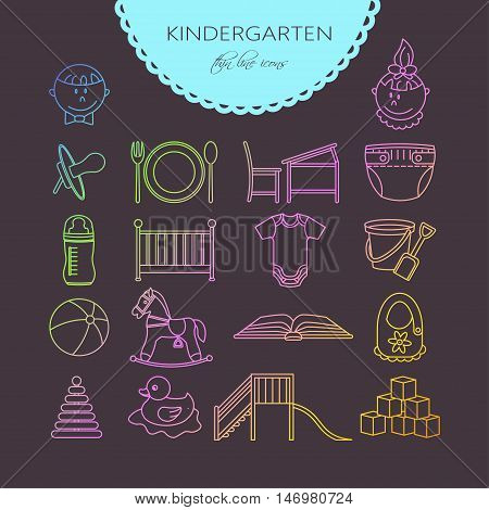 Child and baby care center thin line icons. Kindergarten vector logo. Diaper, sandpit, slide, horse, ball, bottle, crib, pacifier.