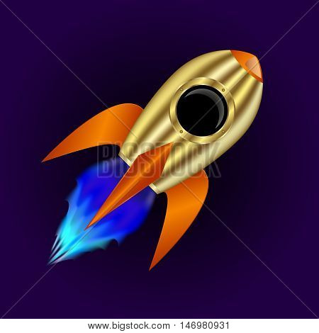 Gold rocket flying on a dark background