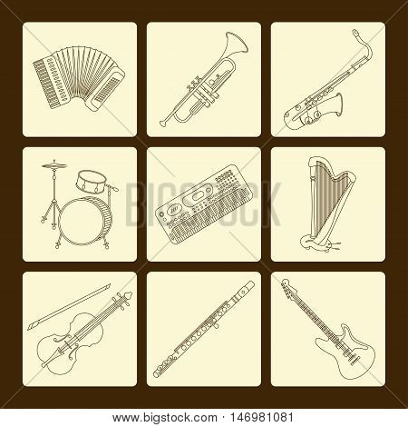 Vector thin line icons with different music instruments synthesizer, drums, accordion, violin, trumpet, harp, drum, saxophone, electric, guitar, flute, piano