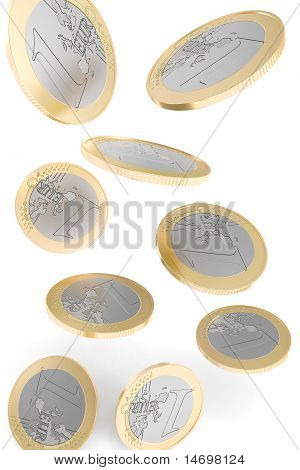 Euro coins falling to the ground