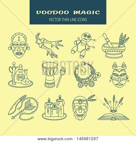 Voodoo African and American magic vector line icons. Voodoo doll, skull, chicken foot, necklace, poison, candles, drums, book a machete.