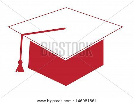 Red and White Graduation Cap Hat and Tassle