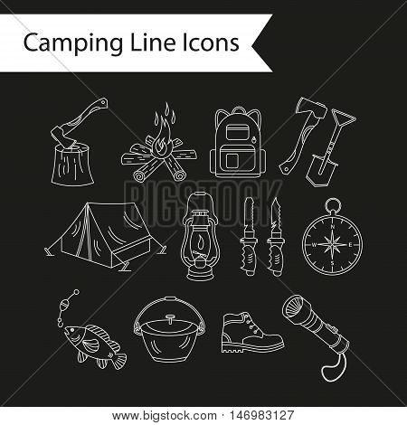 Camping holiday vector line icons. White liner vector icons - wood, fire, kerosene lamp, lantern, tent, knife, backpack, fishing, compass, shoes.
