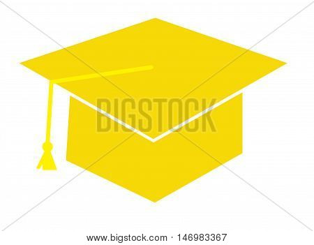 Isolated Yellow Graduation Cap Hat and Tassle