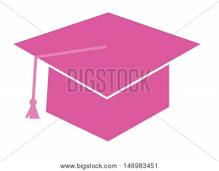 Isolated Pink Graduation Cap Hat and Tassle