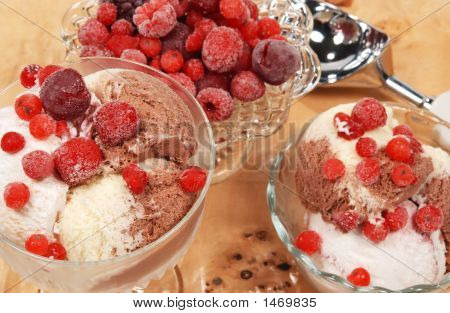Icecream And Fruit
