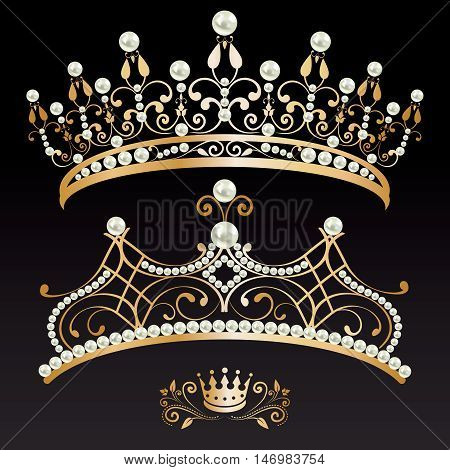 set collection of two beautiful luxury golden with pearls feminine tiaras and crown on black lighted background. vector illustration.