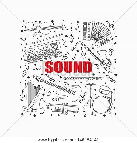 Unique illustration with different music instruments synthesizer, drums, accordion, violin, trumpet, harp, drum, saxophone, electric, guitar, flute. Place for your text.