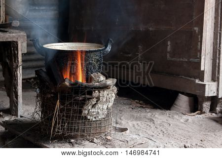 Cook with charcoal. Kitchen Thai traditional charcoal burning clay stove. low key.