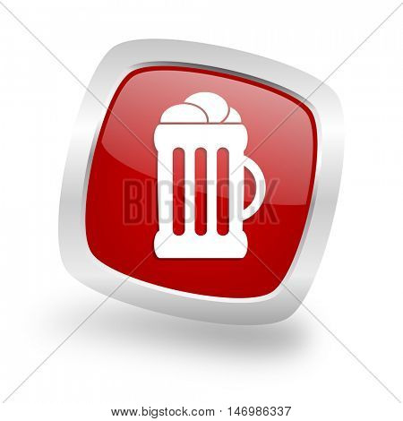 beer square glossy red chrome silver metallic web icon
