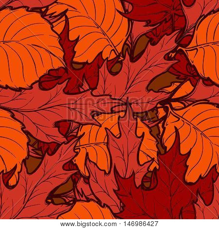 Autumn red and orange deciduous trees leaves. Detailed intricate hand drawing. Chaotic distribution of elements. Seampless pattern. EPS10 vector illustration.