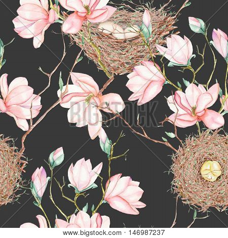 Seamless pattern of the watercolor bird nests on the tree branches with spring magnolia flowers, hand drawn on a dark background