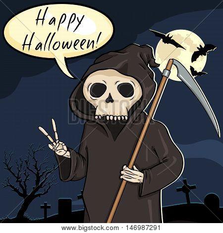 Vector Halloween Postcard. Death With Scythe