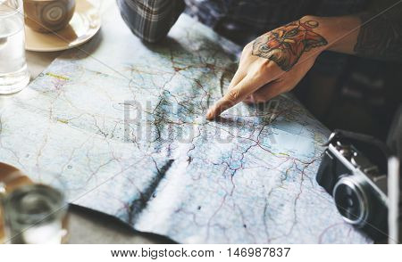 Traveling Map Holiday Bloggers Concept
