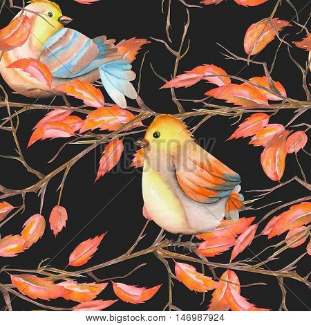 Seamless pattern of the watercolor birds on the tree branches with red leaves, hand drawn on a dark background