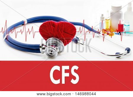 Medical concept CFS (chronic fatigue syndrome). Stethoscope and red heart on a white background
