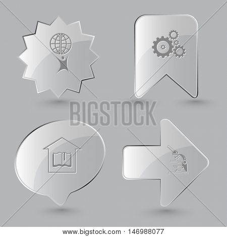4 images: little man with globe, gears, library, lab microscope. Science set. Glass buttons on gray background. Vector icons.