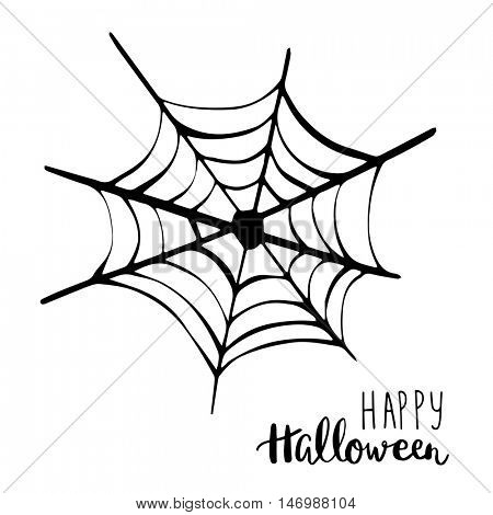 Black spider net icon. Happy Halloween text. Holiday vector background