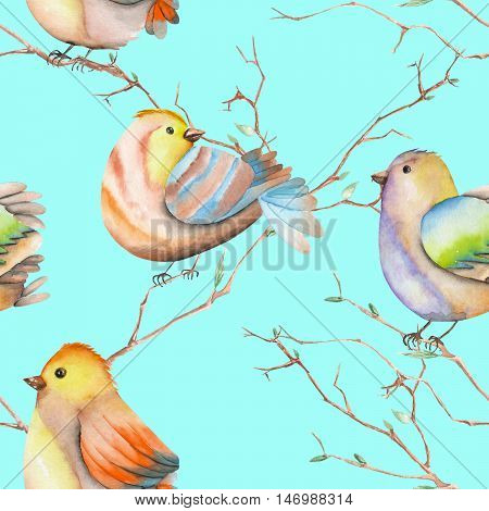 Seamless pattern of the watercolor birds on the tree branches, hand drawn on a blue background
