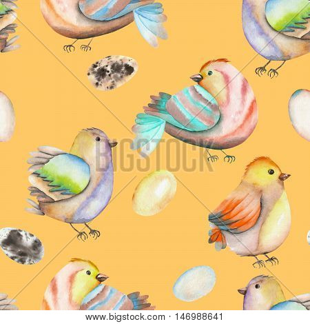 Seamless pattern of the watercolor birds and eggs, hand drawn isolated on an orange background