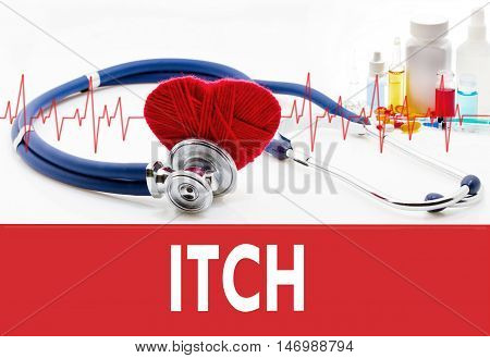 Medical concept ITCH (itchy scabies). Stethoscope and red heart on a white background